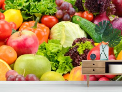 Panoramic collection healthy fruits and vegetables.