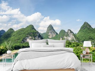 Scenic summer sunny landscape at Yangshuo County, Guilin, China