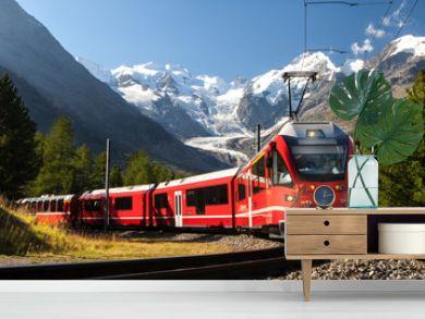 switzerland train at moteratsch glacier Bernina