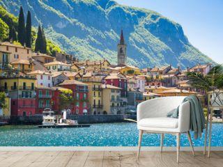 Beautyful old town harbor in Italian city of Varenna