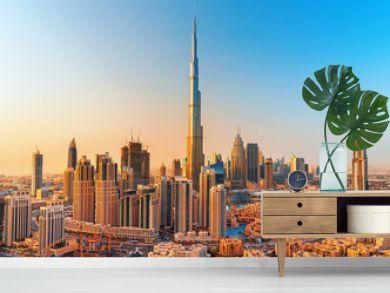 DUBAI ,UNITED ARAB EMIRATES-FEBRUARY 18, 2017: Beautiful Dubai downtown at the sunset,Dubai,United Arab Emirates