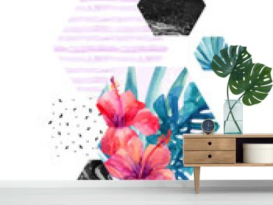 Abstract watercolor tropical background.