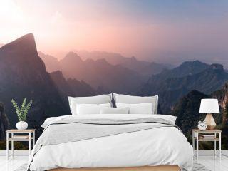 Epic landscape view seen from Tianmen mountain in Zhangjiajie, Hunan Province, China