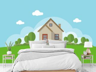 Vector Illustration of a House and Garden