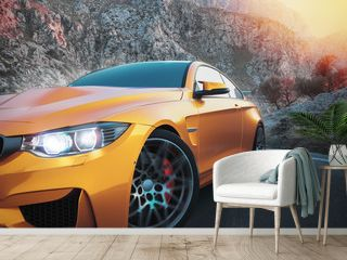 The front sports cars with mountain backdrop, with the morning sun. 3d rendering and illustration.