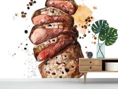 Roast meat. Watercolor Illustration.
