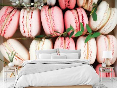 Colorful macaroons, Colorful french dessert, traditional french colorful macarons in a rows in a box