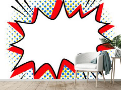 Pop art styled speech bubble template for your design. Comics pop-art style empty bang shape on a multi color halftone.