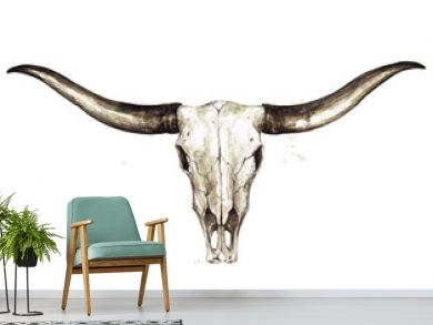 Longhorn Skull. Watercolor Illustration.