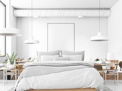 White loft restaurant interior, poster close up