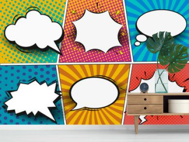 Comic book page template in pop-art style. Retro comic empty speech bubbles set on colorful background. Vector illustration, vintage design, pop art style.