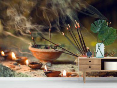 Burning aromatic incense sticks. Incense for praying Buddha or Hindu gods to show respect
