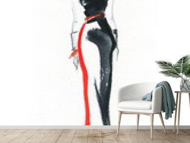 Elegant dress. Fashion illustration.