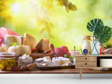 Large assortment of artisanal dairy products in nature
