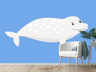 White whale cute sea animal