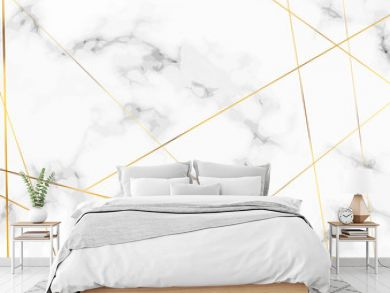 Marble stone plate with chic golden lines pattern