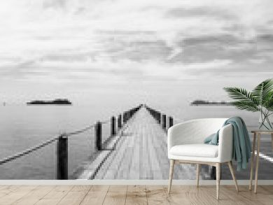 Black and white Landscape of wooden bridge in blue sea on tropical beach.