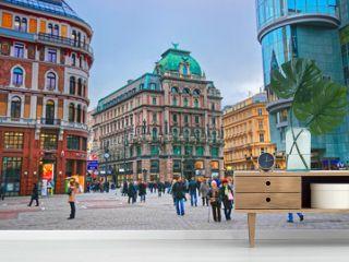 People walking in Vienna, Austria in Stephansplatz