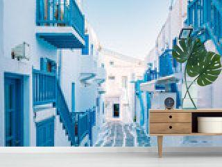 colorful streets of Mykonos Greece