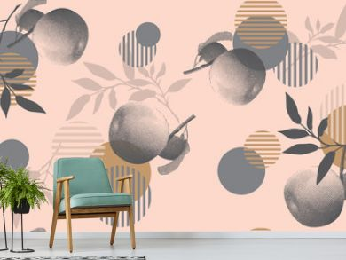 Modern floral pattern in a halftone style. Geometric shapes, apples and branches on a pink background