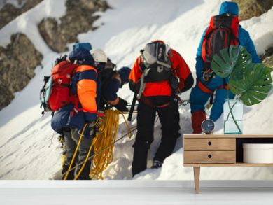 Group climbers on a snowy mountain slope.