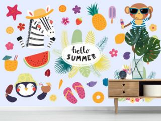 Big set of cute funny animals and summer design elements and quotes. Isolated objects on white background. Vector illustration. Scandinavian style flat design. Concept for children print.
