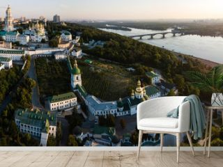 Aerial panoramic view of Kiev Pechersk Lavra churches on hills from above, cityscape of Kyiv city