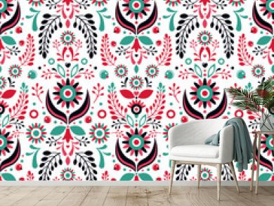 Folklore floral ornament. Seamless pattern.