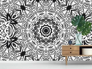 Seamless Floral pattern. Art-deco Geometric background. Modern graphic design. Vector illustration. For print, fashion