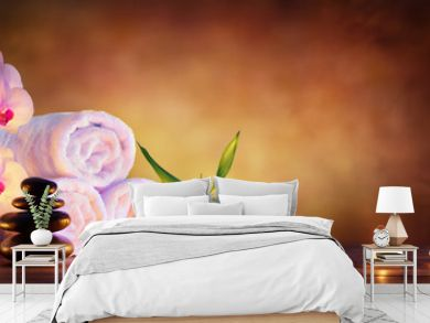 Spa Concept - Massage Stones With Towels And Candles In Natural Background