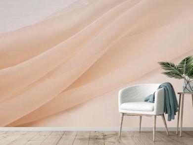 Silk fabric, organza is light beige.