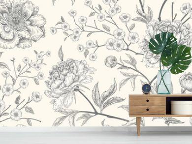 Luxury seamless background with peony flowers.