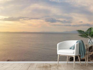 Panorama view of beautiful tropical island beach. seascape.