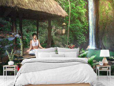 Serenity and yoga practicing at waterfall,Bali,Imdonesia