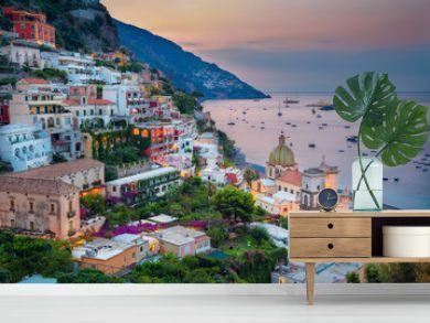 Positano. Aerial image of famous city Positano located on Amalfi Coast, Italy during sunrise.