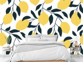 Seamless pattern with citrus fruits. Hand drawn overlapping backdrop. Modern lemon wallpaper. Vector illustration, good for printing.