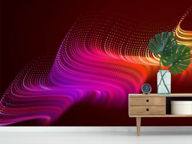 Abstract colorful digital landscape with flowing particles. Cyber or technology background. Red, pink, orange colors