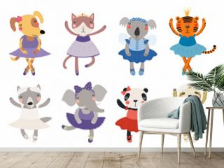 Set of cute funny little animals ballerinas cat, koala, panda, tiger, dog, wolf, sloth, elephant. Isolated objects on white. Vector illustration. Scandinavian style flat design. Concept children print