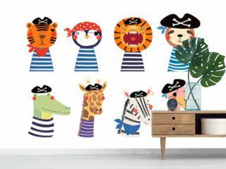 Set of cute funny little animals pirates lion, tiger, zebra, flamingo, penguin, sloth, giraffe, crocodile. Isolated objects on white. Vector illustration. Scandinavian style design. Concept kids print