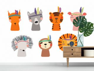Set of cute funny little tribal animals lion, tiger, wolf, sloth, hedgehog, pig, squirrel. Isolated objects on white. Vector illustration. Scandinavian style flat design. Concept for children print
