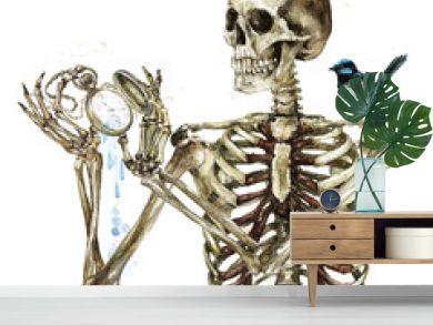 Human Skeleton holding Pocket Watch. Watercolor Illustration.