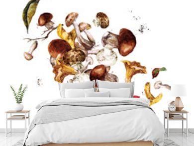 Mushrooms. Watercolor Illustrations.