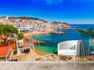 Sea landscape with Calella de Palafrugell, Catalonia, Spain near of Barcelona. Scenic fisherman village with nice sand beach and clear blue water in nice bay. Famous tourist destination in Costa Brava