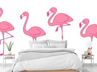 pink flamingo Cartoon vector set Cute flamingos collection Flamingo character animal exotic nature wild fauna illustration