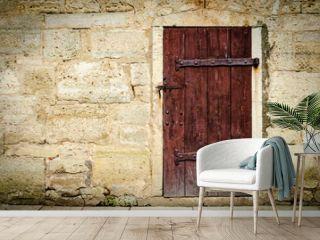 Medieval castle wooden door with massive iron hinges.