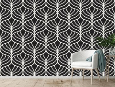 Classic leaves art deco seamless pattern. Geometric stylish ornament. Vector antique texture.