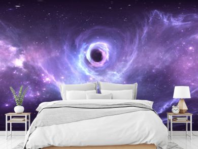 360 degree massive black hole panorama, equirectangular projection, environment map. HDRI spherical panorama. Space background with black hole and stars