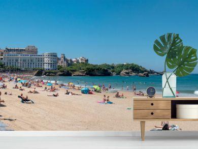 View of Biarritz beach by the Atlantic ocean, France