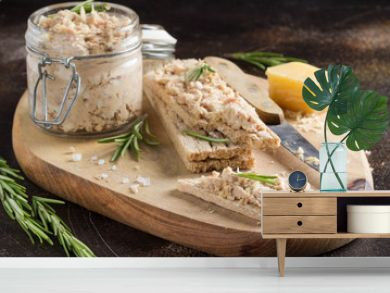Tuna pate with egg, cheese in jar and crispy bread. Fish rillette, healthy snack, diet food