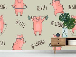Cute cartoon pigs exercising seamless pattern. Vector fitness print.